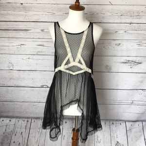 Intimately Free People Black Cream Chemise Small